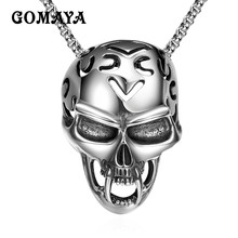 GOMAYA Stainless Steel Skull Pendant Necklace For Mens Hollow Skeleton Punk Rock Jewelry Classic Gothic Silver Color Collier mens stainless steel death satan cross skeleton skull pendant silver color punk fashion biker demon jewelry