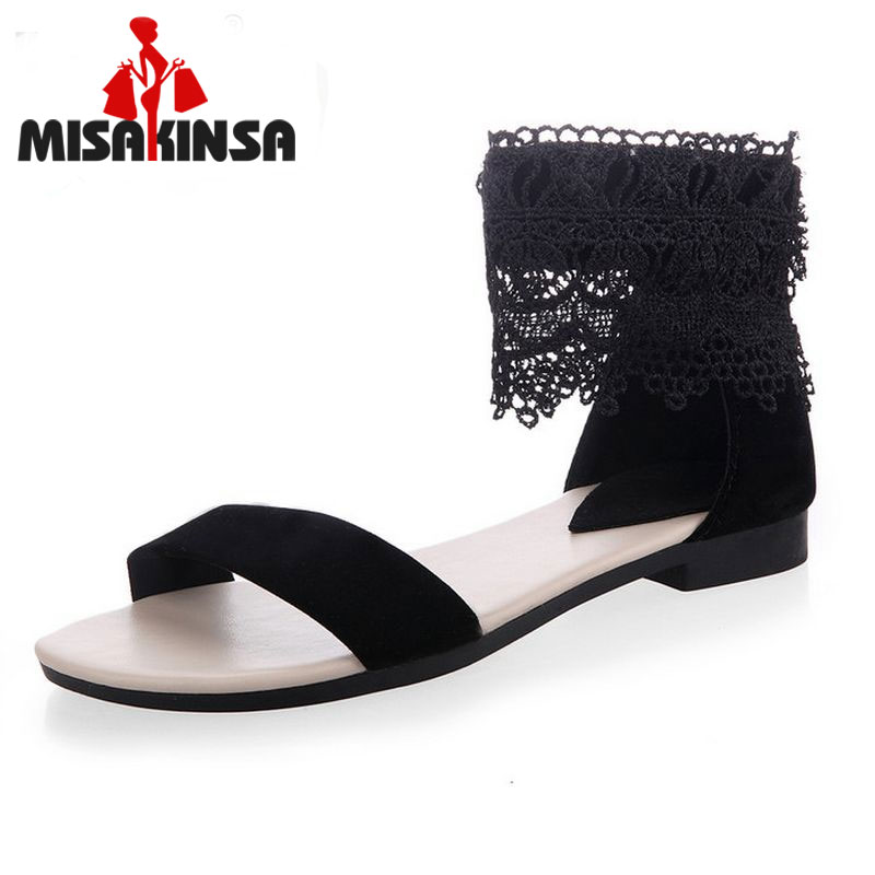 MISAKINSA Flats Sandals Lace Shoes Flat Sandal Flip Flops Ladies Leisure Sexy Zipper Beach Shoes Footwear Size 34-39 PA00227 ladies leisure casual flats shoes low heels lady loafers sexy spring women brand footwear shoes size 34 39 p16171