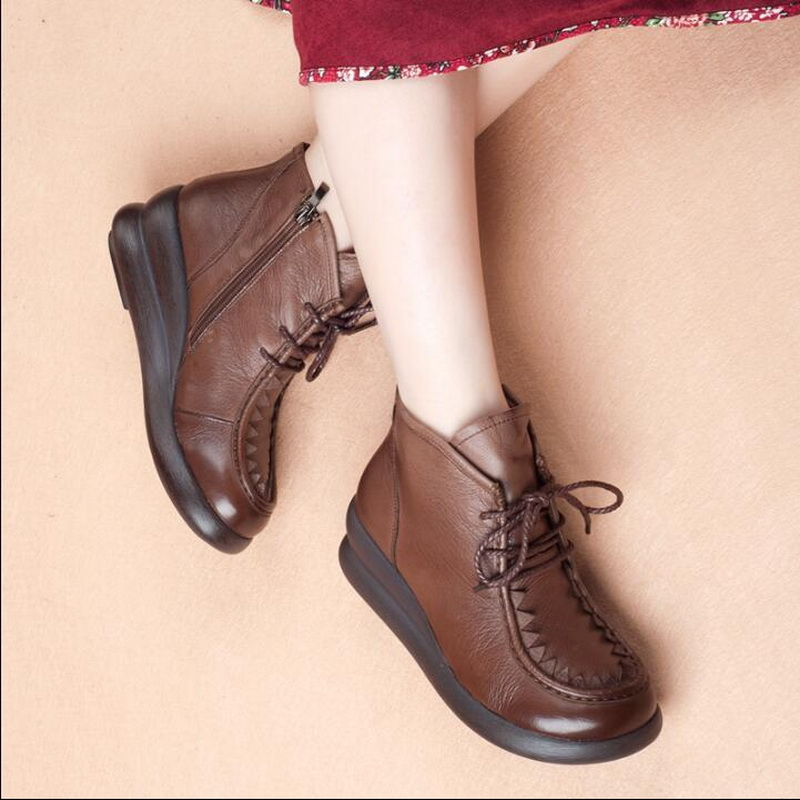 2018 new original art retro platform shoes Genuine Leather  female Ankle Boots wedge round head high help womens boots2018 new original art retro platform shoes Genuine Leather  female Ankle Boots wedge round head high help womens boots