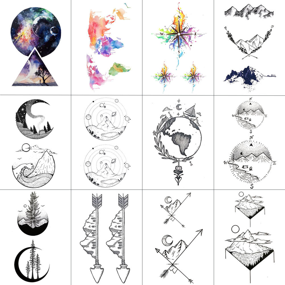 HXMAN 12 PCS/lot Mountain Temporary Tattoo Sticker For Women Men Fake Tatoo Body Art Adult Waterproof Stickers 9.8X6cm W12-08