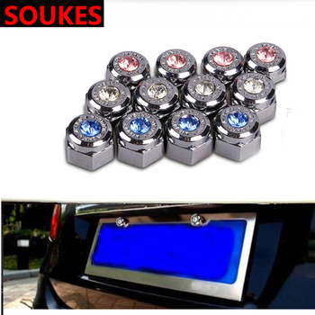 4pcs Luxury Diamond Car License Plate Frame Screws For BMW E92 E53 X3 f25 E34 Audi A6 C6 A5 B7 Q5 C5 Abarth Ford Fiesta Mondeo image