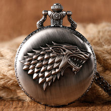 Dire Wolf Winter is Coming Game of Thrones Crest Stark House Quartz Pocket Watch Men Women Gift Necklace Chain Cool Pendant
