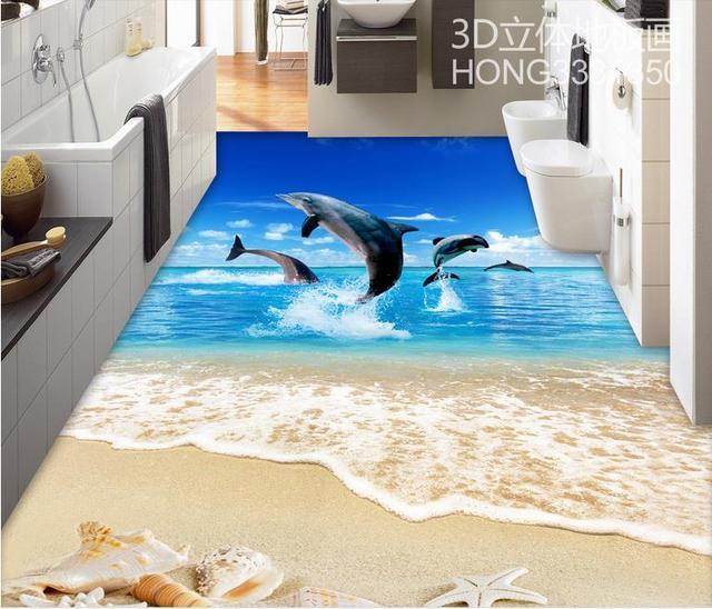 Vinyl Flooring Waterproof Custom 3d Floor Shell Beach Bedroom Wallpaper Pvc Mural