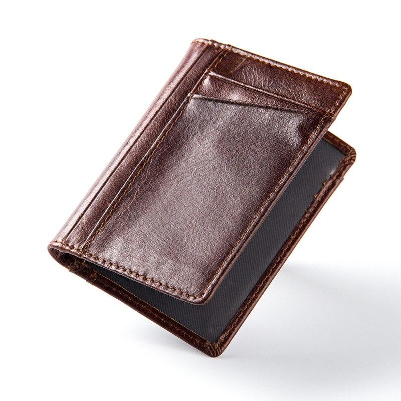680cec7209 Mini portafogli hasp piccola borsa 100% vera pelle portafoglio uomo borse  uomo frizione donne di cuoio di cavallo pazzo d'epoca stile Nuovo in Mini  ...
