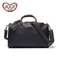 European and American fashion men's leather travel bag leisure retro crazy horse leather high capacity handbag