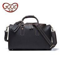 European and American fashion men's leather travel bag leisure retro crazy horse leather high capacity handbag