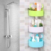 Пластиковые присоске Ванная Кухня угловой шкаф хранения Организатор душ полка случайный отверстия