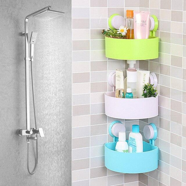 Attractive Plastic Suction Cup Bathroom Kitchen Corner Storage Rack Organizer Shower  Shelf Random Holes