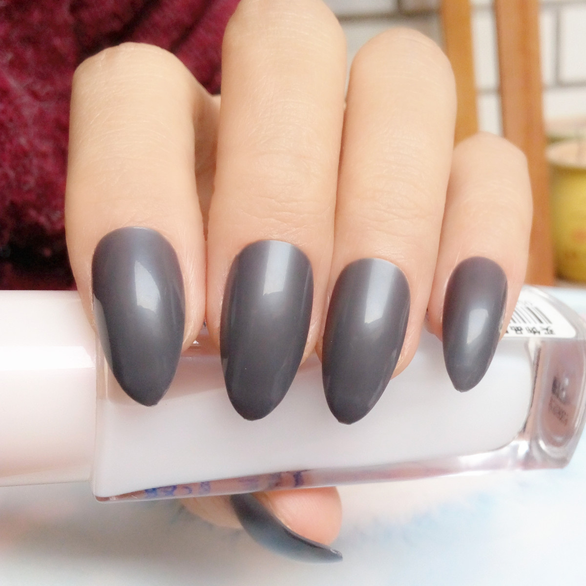 Snoep Korte Stiletto Nagels Tips Fashion Grey Nep Nagels Cover ...