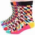 RioRiva 5Pairs/lot Men Formal Dress Socks US 6-11/EU 39-45 Mid Calf Cotton Blend Sox Grid Business Socks Art Plaid