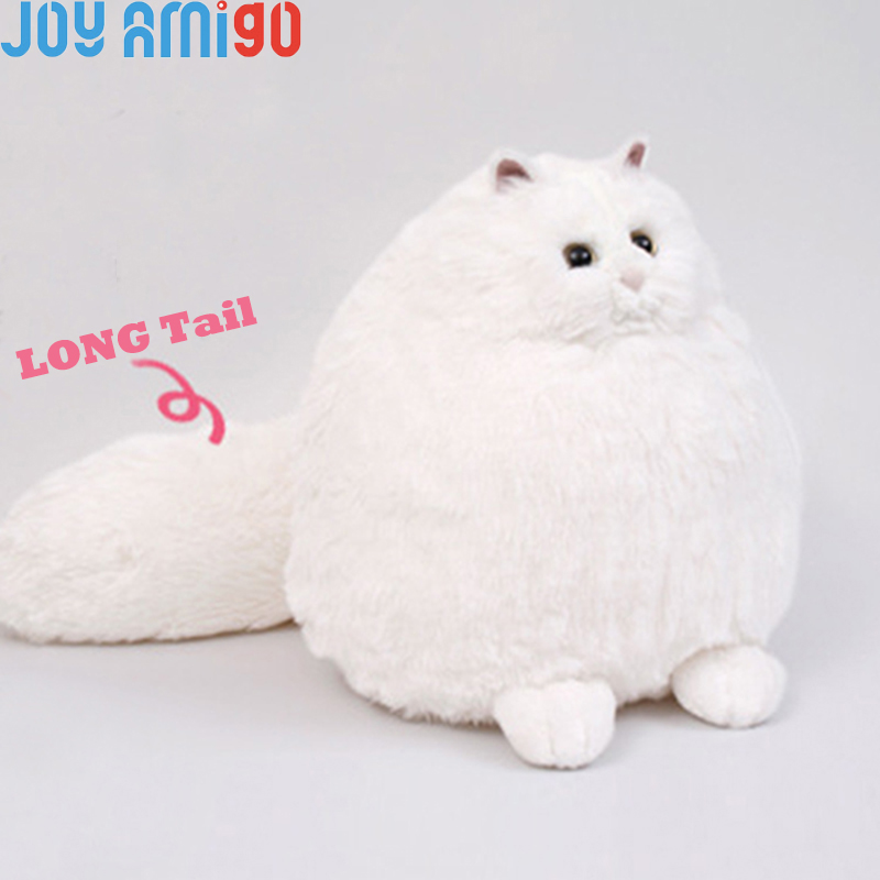 944f7f5db4d Fluffy Soft White Persian Cat With Big Puffy Tail Plush Stuffed Kitty  Animal Toy Gift For Kids 35cm Sitting Height Ball Shaped
