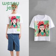 2019 new summer Casual White Cotton T-Shirt women  Lady Arts O-neck Short Sleeve Summer fashion t shirt