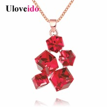 Uloveido Colar Geometric Necklaces & Pendants Rose Gold Color Women Necklace with Red Stones Punk Suspension New Jewellery GR125(China)