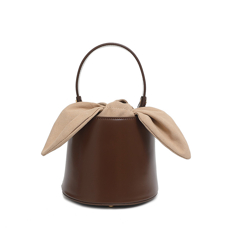 2019 Fashion Women Leather Handbags Bucket Bag Messenger Bag with Bow and Removable Shoulder Strap2019 Fashion Women Leather Handbags Bucket Bag Messenger Bag with Bow and Removable Shoulder Strap