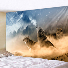 Three Wolves Holy Animals Tapestry Decoration Wall Hanging Lion Wolf Tiger Pattern Background Wall Tapestry Home Textile three christmas snowman dolls pattern wall tapestry