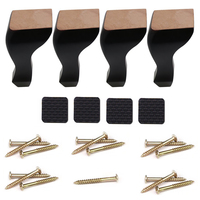 Black Wood Oak Rubber Wood Sofa Wooden Legs Cupboards Tables Chair Feet for Home Furniture Legs 15cm Height 4PCS