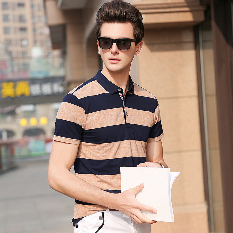 2019 New Fashion Brand   Polo   Shirts Men Top Grade Korean Summer Slim Fit Short Sleeve Cotton Striped   Polos   Casual Men's Clothing