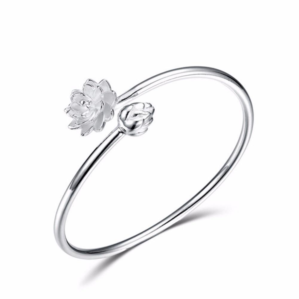 GEEZII S990 Bangle Elegant Double Hearts Love Style Trendy Women Bracelet For Daily Dress Sale lotus bracelet fashion