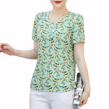 2019 New women summer blouses shirts casual print o-neck sho