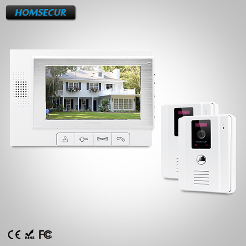 HOMSECUR 7 Video&Audio Home Intercom Electric Lock Supported for Home Security TC011-W + TM702-W