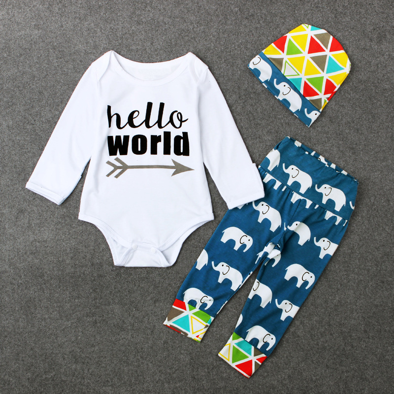 a7855a5bd82 Retail Autumn New Boys Letter Shirt Elephant pants hat Baby Set Kids  Fashion Rompers hat 3pcs Suit Boy Cotton Wear Sets Hot Sale-in Clothing Sets  from ...