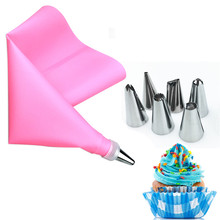 VOGVIGO 8PCS/Set Silicone Kitchen Accessories Icing Piping Cream Pastry Bag 6 Stainless Steel Nozzle Set DIY Cake Decor Tools
