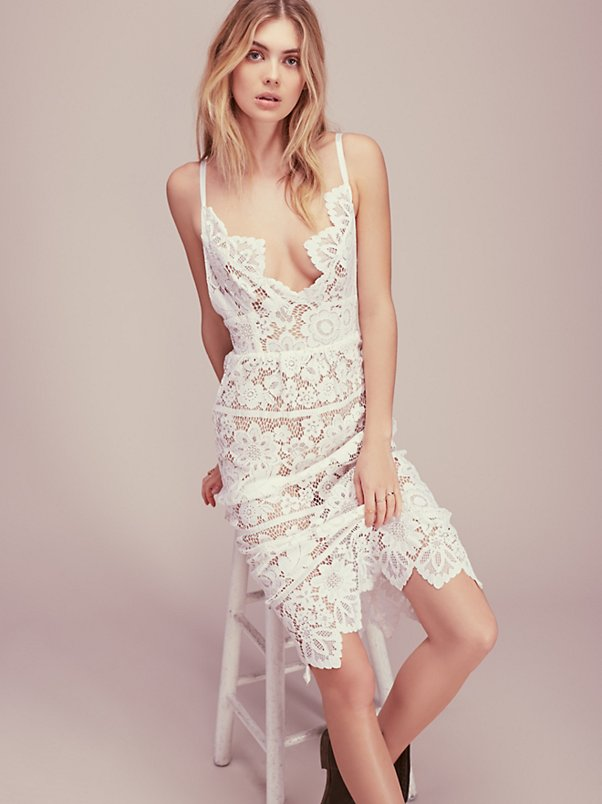 Women Love GIANNA DRESS White Plunging Neckline Barely-there Seamless Spaghetti Strap Teardrop Lace Midi Dress white spaghetti strap lace insert dress