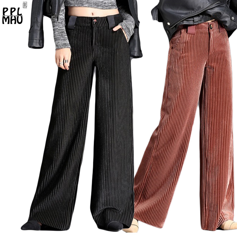 Hot Sale Velet Pants Women's Trousers With High Waist Female Loose Large Size Women Pant 2019 Big Size Women's Pleuche Trousers