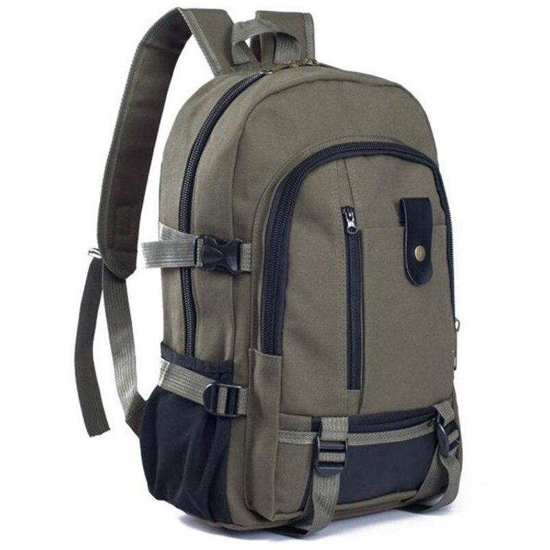 Outdoor Double-Shoulder bag Vintage Travel Canvas Leather Backpack Sport Rucksack Satchel School Hiking cycling Bag #5O08 (4)