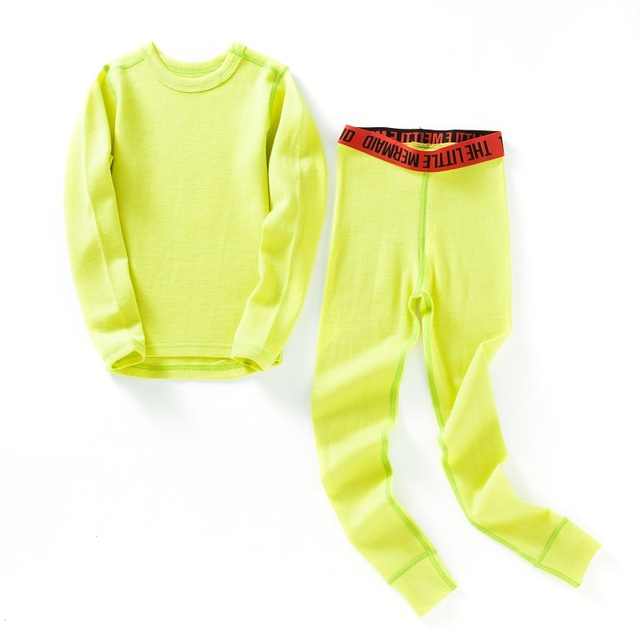 100% Merino wool kids thermal thicker underwear set boys girls From 1.5 to 14 years old