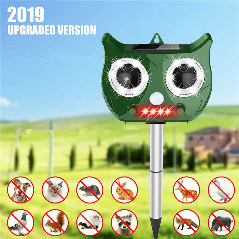 2019 Nova Ultrasonic Animal Repeller Solar Incluem Bateria de Lítio 1500 mAh, Pest Repeller Cobra À Prova D' Água Cão Gato Pássaro Dispeller