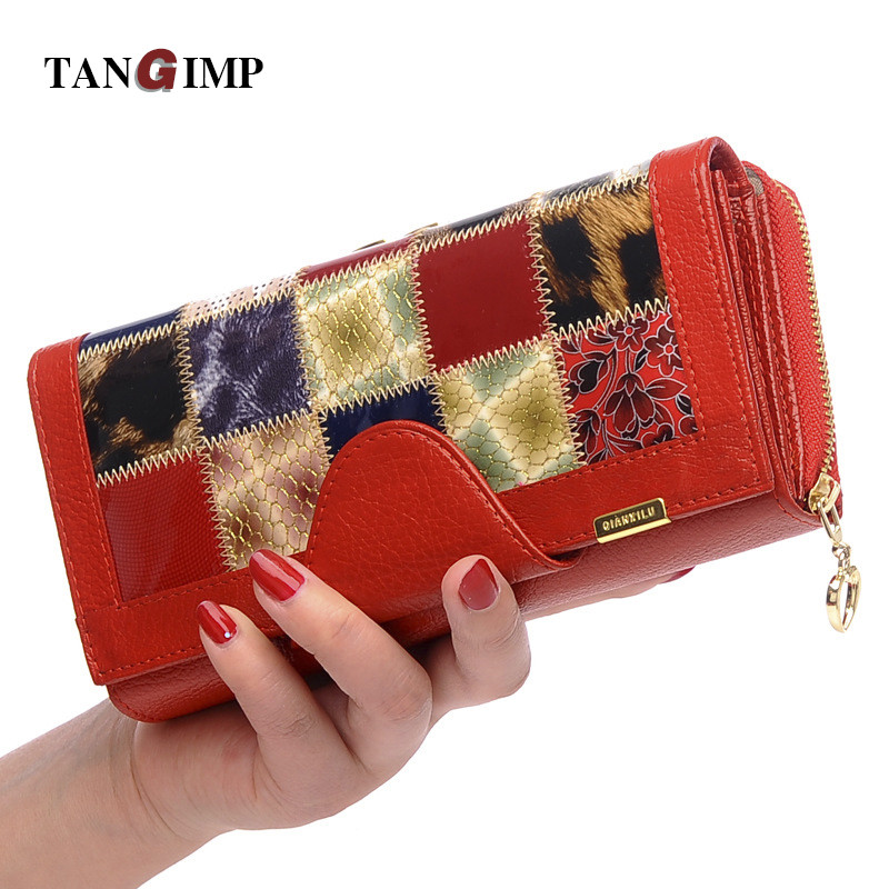 TANGIMP 2018 New Women Wallets Genuine Leather Mosaic Alligator Grain Hasp Gift for Handbag Purse Ladies Leather Wallets Clutch just star women s leather wallets ladies