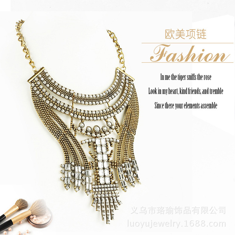 2017 HOT Full drilling Retro Brand necklace Exaggerated style necklace Fashion noble Womens necklace