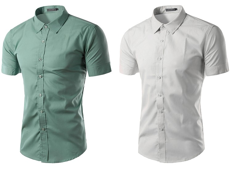 camisa social manga curta cinza, camisa social manga curta branca