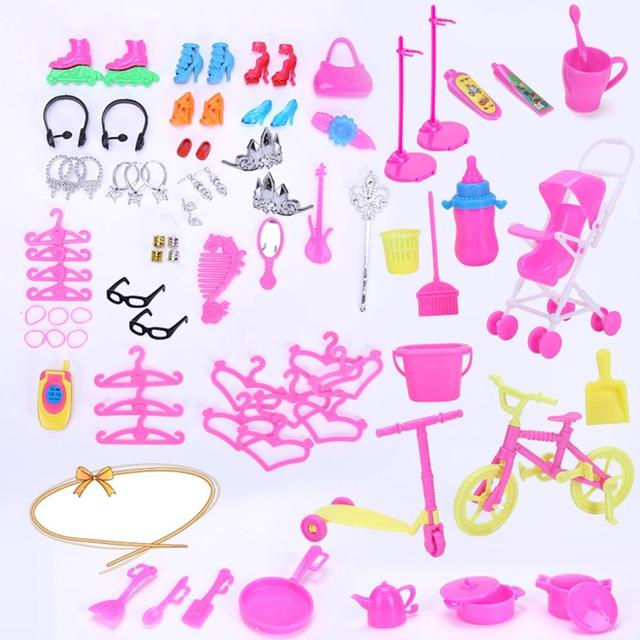 LeadingStar 98PCS/Set Barbie Dolls Accessories Set Shoes Bag Mirror Hanger Comb Necklace for Barbie Toys Kids Gift zk25