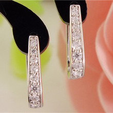 SHUANGR Free Shipping 1pair Silver U-Shape Hoop Earrings AAA Clear Cubic Zirconia Women Jewelry Elegant Tiny Hoop Earrings TB387