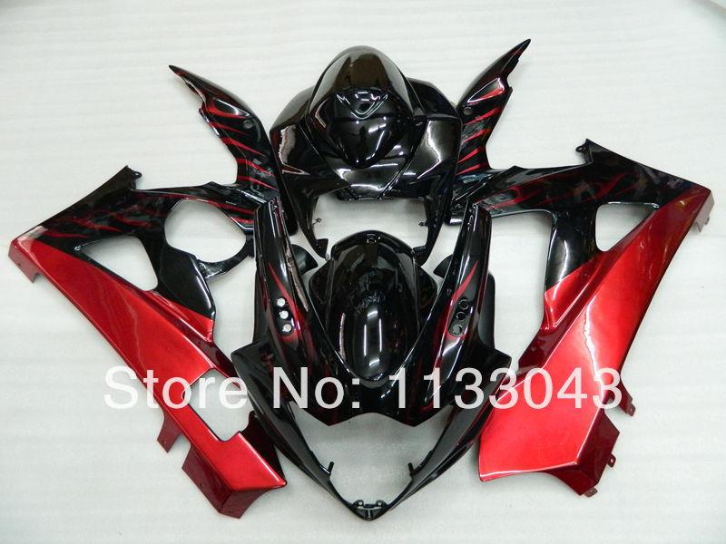 Литья под давлением обтекатель для SUZUKI GSXR1000 K5 05 06 GSXR 1000 GSX-R1000 GSX R1000 K5 2005 2006 Прохладный черный, красный кузов