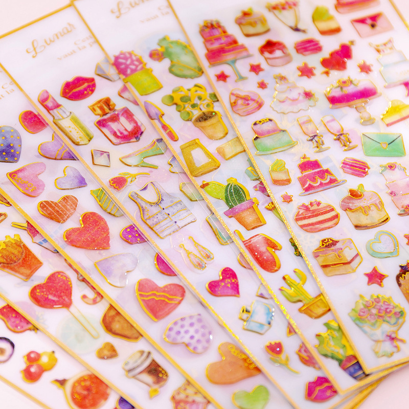 1 Sheet Lovely Heart Fruit Cactus Cakes Crystal DIY Stickers Decorative Scrapbooking Diary Album Stick Label Student Supply