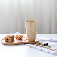 3 Pieces In One Set Creative Breakfast Tray Classic Wood Mug And Coffee Spoon Natural Wooden Handmade Tea Tray For Cake And Cup