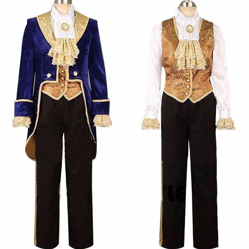 Skönhet och odjuret Cosplay Vuxna Kostymer Prince Adam Cosplay Kläder Adam Men Halloween Party Klädpaket