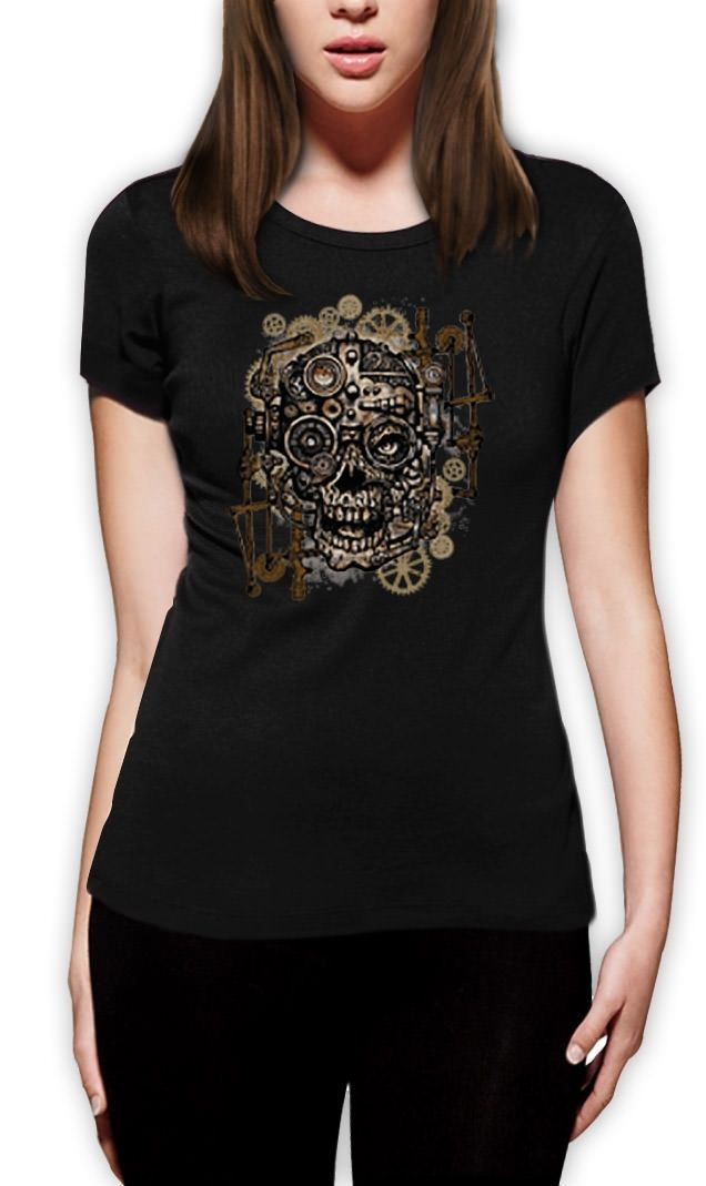 Steam Punk Skull Dames T-shirt Mechanisch Gothic Vintage Clockwork - Dameskleding