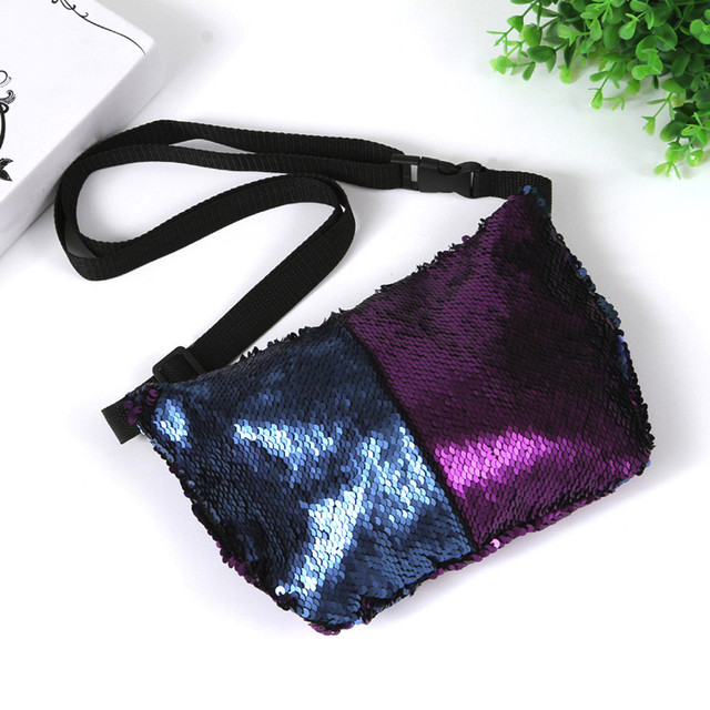 Fashion Women Nylon Zipper Waist Pack Unisex Casual Double Color Sequins Pockets Bags monederos para mujer