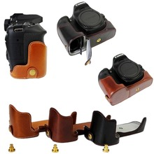 Pu Leather Camera Case Half Bag Cover Battery Open For Canon EOS 60D 70D 80D Bottom-open
