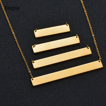 Eleple Stainless Steel Pendant Brand Necklaces for Women or Men Customized Rectangle Clavicle Chain Jewelry Dropshipping S-KN01