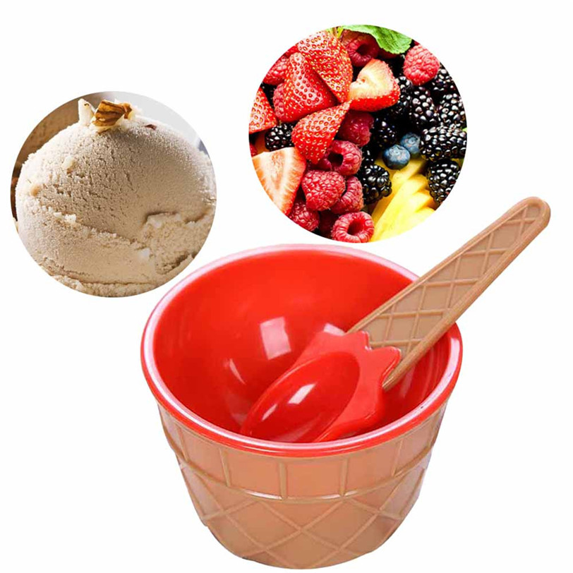 ice cream bowl set bowl with a spoon plastic bowl 4386