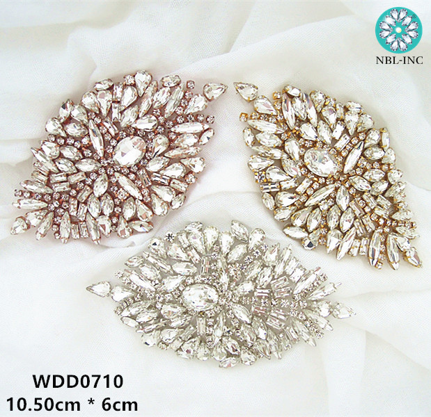 (1PC) Silver Rose Gold Rhinestone Crystal Applique Patch Gold Iron Sewn On For Dress Shoes Accessories WDD0710