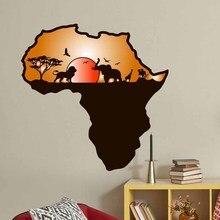 Африканские карты настенные наклейки животных сафари слон жираф красное солнце наклейки для детей комнаты офиса украшения дома DIY художественные фрески