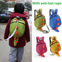 Cartoon Dinosaur Anti lost Backpack Baby Toddler Anti-lost Reminder Leash Harness Strap Walker Kids Kindergarten Schoolbag Bag super cute bear toddler anti lost backpack harness leash bag walking baby leashes bag toddler walker safety harness bag