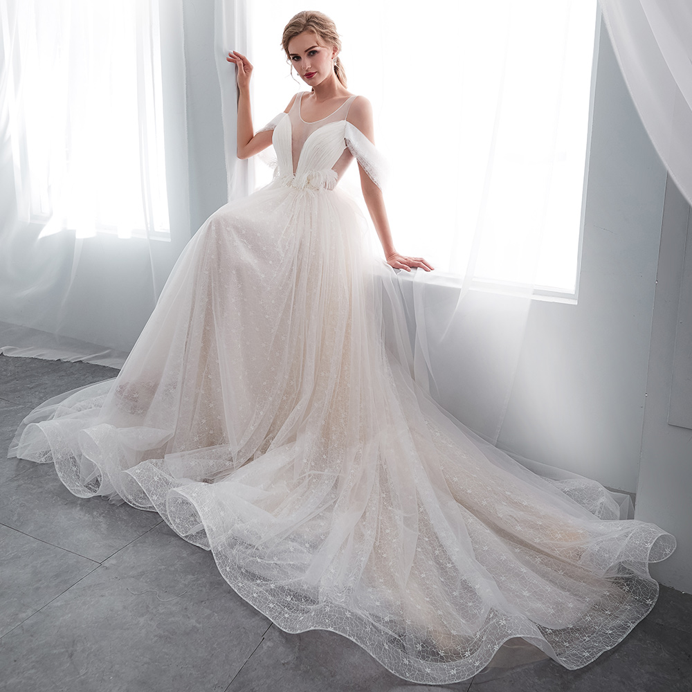 BeryLove Sexy Wedding Dress 2018 Off Shoulder Lace Wedding Dresses For Wedding Plus Size Wedding Gowns Women Bridal Dresses 2018