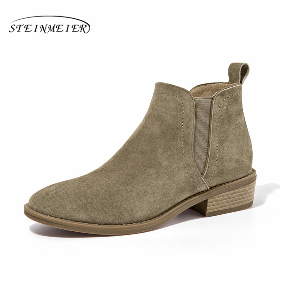 Cow suede Genuine Leather winter boots Ankle chelsea Boots lady shoes elastic band Handmade oxford shoes for women grey black elastic band women genuine leather ankle boots chelsea hand made shoes motorcycle coincise fashion black matte women s boots